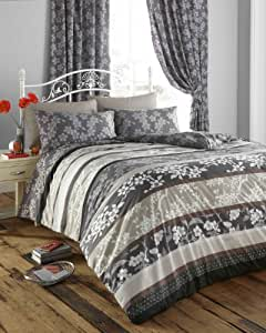 King Size Duvet Cover Set With Matching Curtains Charcoal Mocha Oriental Flower