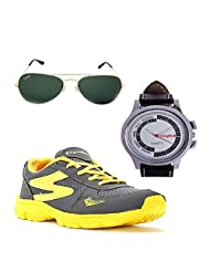 Elligator Stylish Gray & Yellow Sport Shoes & Watch With Elligator Sunglass For Men's