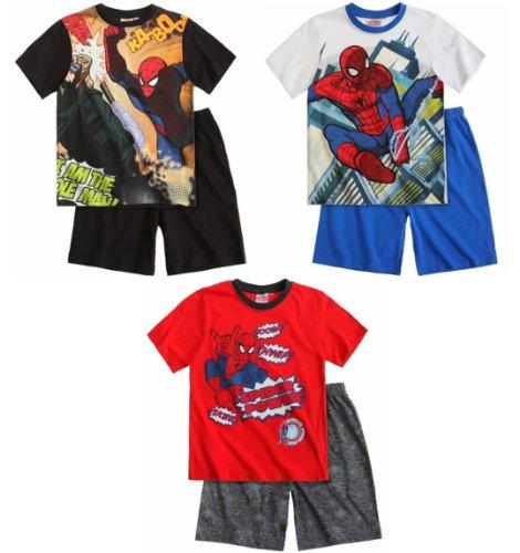 Spiderman Schlafanzug 2014 Shorty 98 104 110 116 122 128 134 140 Jungen Shortie Pyjama Neu Sommer (98 - 104, Schwarz)