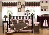 JoJo Designs 9-Piece Baby Crib Infant Bedding Set - Soho Pink and Brown