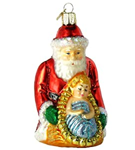 Old World Christmas Baby Jesus and Santa Ornament