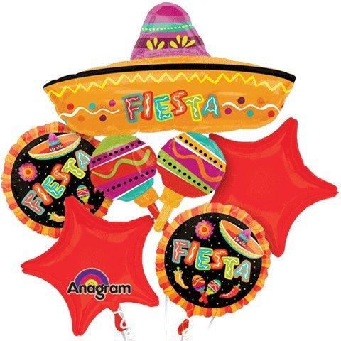 Spanish Fiesta Fun Party Mylar Foil Balloon Bouquet Set