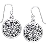 Ancient Tree of Life with Sun and Moon Symbol Round Filigree Sterling Silver Earrings