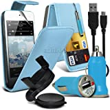 Jumbo 6 IN 1 Car Accessory Pack For Apple Ipod Touch 5 To Choose From Different colours Faux Leather Credit / Debit Card Slots Leather Flip Case + Retractable Touchscreen Stylus Pen + Screen Protector Guard + Unisuction 360 In-Car Windscreen Suction Car