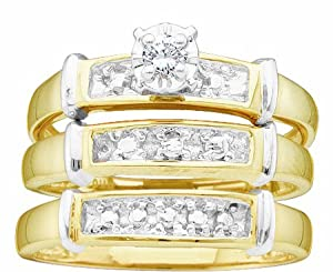 Men's Ladies 10K Yellow and White Gold .1CT Round Cut Diamond Wedding Engagement Bridal Trio Ring Set (ladies size 7, men size 10) from Rodeo Jewels Co