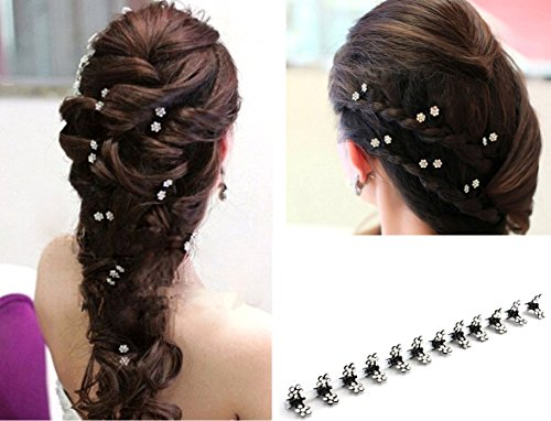 Wed2BB 12 pcs of Elegant Mini Hairpin Rhinestone Flower Hairpin Jaw Clips For Wedding Party Prom (Small Crystal Hair Pin compare prices)