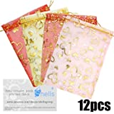 Shells 12PCS Multi-color Organza Gift Bags Candy Bags Gift Bags Flat Style Bags 6.7 X 9.06 Inches For Wedding, Party And Home Decoration