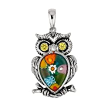 Multicolor Millefiori Owl Pendant With Cz Eyes