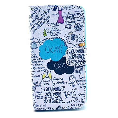 Bayke Brand / Lg Optimus G2 Smartphone Fashion Pu Leather Wallet Flip Protective Skin Case With Stand With Credit Card Slots & Holder Lg G2 At&T, Sprint, T-Mobile, International Only (The Fault In Our Stars Pattern Design)