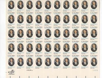 Dr. Mary Walker Sheet of 50 x 20 Cent US Postage Stamps NEW Scot 2013