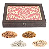 Aaina Ganesh Logo In Ethnic Design With Floral Pattern Plain Border Wooden Handicraft Gift Box With Dry Fruits