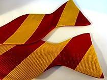Marlon Garci 100% Silk Cardinal and Gold Stripe Self Tie Bow Tie