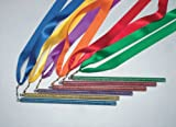 Sportime Rainbow Streamer Satin Ribbon with Plastic Glitter Wands - 36 inch - Set of 6 - Assorted