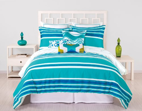 Trina Turk 3-Piece Horizon Stripe Duvet Set, Queen, Blue front-1063509