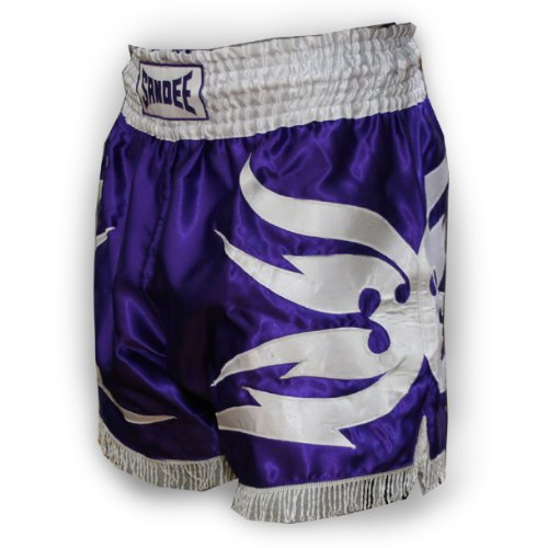 Sandee Victory Satin Thai Shorts - Purple/White - Size 2XL (For Boxing, MMA, UFC, Muay Thai)