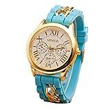 Mujer cuarzo reloj de la jalea dorado silicona reloj para Hombres Unisex negro Navidad feliz cumplea�os regalo - ofertas studyingstore Light Blue A