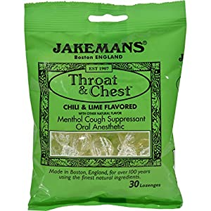 2Pack! Jakemans Throat and Chest Lozenges - Chili and Lime - 30 Lozenges - 12 ct