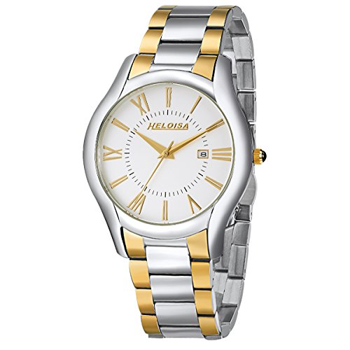 Heloise Men's Two Toned Stainless Steel Watch Roman Numberals #76120225 (Heloise Jewelry Box compare prices)