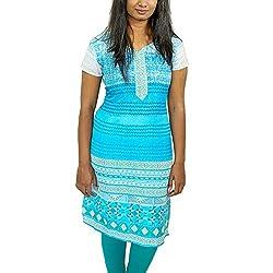 GRUA Half Sleeve Women's Workwear Blue Straight Kurtas (Size S)