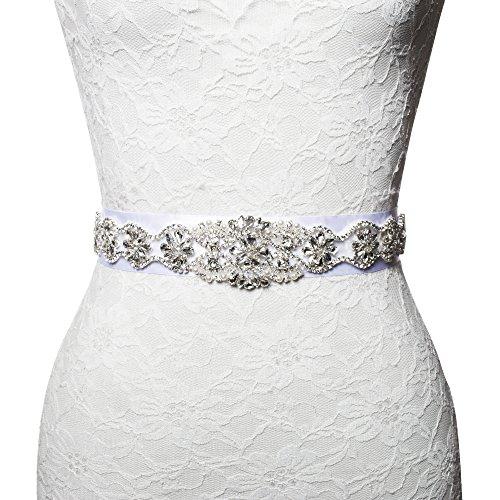 """2"""" Width Wedding Dress Appliqué Sash Bridal Belt with Crystal Rhinestone Beaded"""