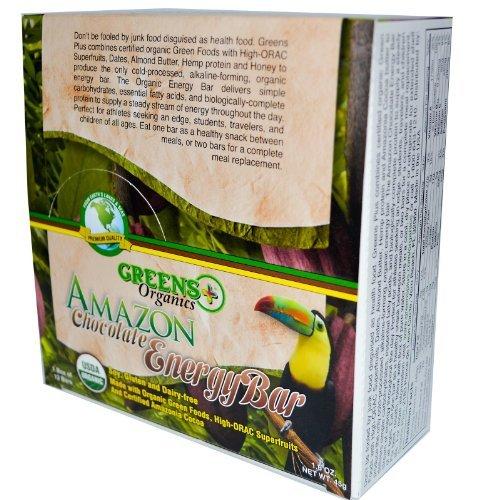 Greens+ Energy Bar Amazon Chocolate 12 bars