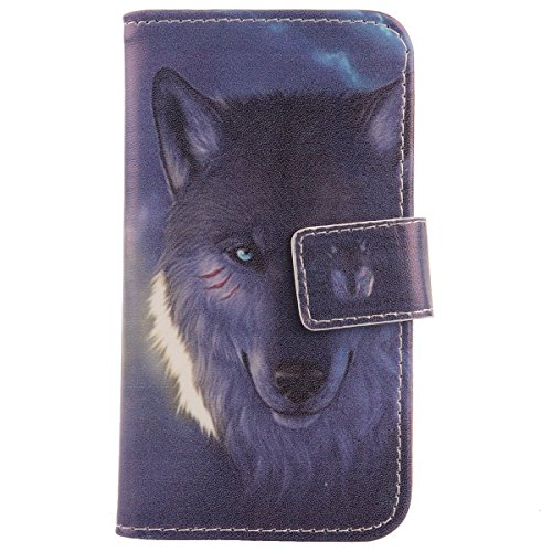 Lankashi Pattern Wallet Design Flip PU Leather Cover Skin Protective Case for Elephone M2 5.5″ (Wolf)