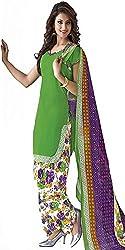 Nikki Fab Green Cotton Unstitched Dress Materials.