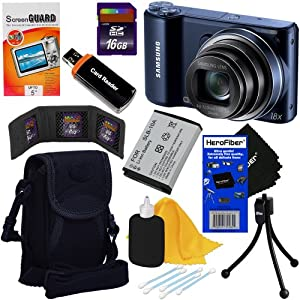 """Samsung WB250F 14.2MP CMOS Smart Wi-Fi Digital Camera with 18x Optical Zoom, 3.0"""" Touch Screen LCD & HD Video (Cobalt Black) + SLB-10A Battery + 8pc Bundle 16GB Accessory Kit w/ HeroFiber® Ultra Gentle Cleaning Cloth"""