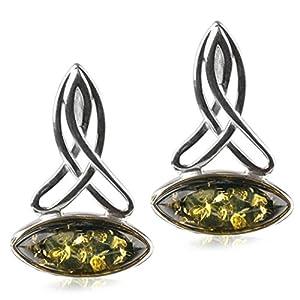 Amber by Graciana - 40754 - Boucles d'oreilles Femme Celtique - Argent 925/1000 - Ambre Vert