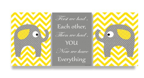 The Kids Room by Stupell Grey Elephants on Yellow Chevron Now We Have You 3-Pc. Rectangle Wall Plaque Set