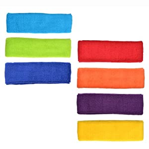 COSMOS ® 7 PCS Different Color Cotton Sports Basketball Headband /Sweatband Head Sweat Band/Brace