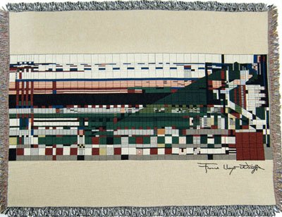 Frank Lloyd Wright Taliesin Hillside Woven Tapestry Throw Blanket Afghan