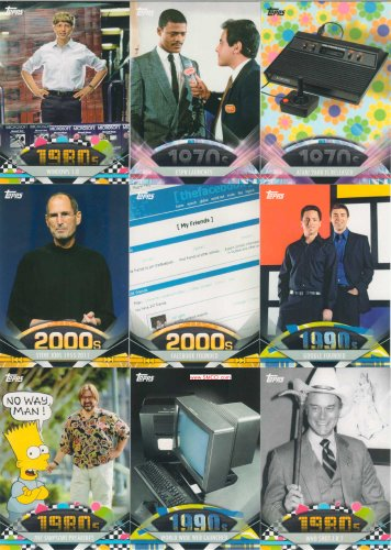 2011 Topps American Pie Series 200 Card Hand Collated Complete Mint Set Highlighting Famous People and Events That Have Shaped American History From the 1940's Through Recent Years. American Icons Included Are Johnny Carson, Dr. Seuss, Jackie Robinson, Lucy, Sinatra, Bing Crosby, Groucho Marx, Jackie Gleason, John Wayne, Steve Jobs and More Plus Historic Events Including Debut of Barbie, the Brady Bunch, Sesame Street, Instant Replay, Zip Codes, Sony Walkman, Mcdonalds, Burger King, Disneyland and Walmart, Pong, Apple, Nintendo, Atari, Ipod, Youtube, Facebook, Google, Twitter, Espn and Much More!