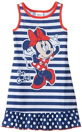 Komar Kids Girls 2-6X Toddler Minnie Mouse Striped Pajama Short Sleeve Nightgown, Blue, 2T