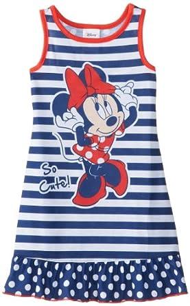 Komar Kids Little Girls'  Minnie Mouse Striped Pajama Short Sleeve Nightgown, Blue, 2T