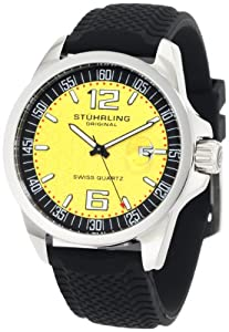 "Stuhrling Original Men's 219.331622 ""Symphony Eternity Monterey"" Stainless Steel Watch with Black Tire-Print Rubber Strap"