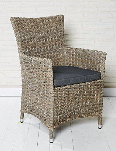 6x Hochwertiger Polyrattan Gartenstuhl Aluminium Gestell Sessel Rattan Stuhl Gartenstühle Gartenmöbel Grau-Braun meliert bestellen