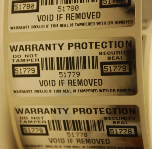 100 High Security Tamper Evident Warranty Void Labels/Stickers w/ Unique Sequential Serial Numbering and Bar Code
