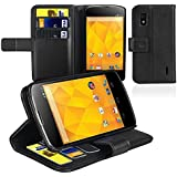 Portefeuille Housse etui coque cuir avec porte-cartes Pour LG Nexus 4 E960,Noir
