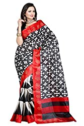 RGR Enterprice Woman's Bhagalpuri Designer Saree (BLACKWHITE PRINT_Multi-Coloured_Free Size)