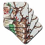 3dRose cst_172198_2 Santa and The Singing Reindeer Vintage Soft Coasters, Set of 8