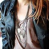 "TPT Fashion Women""s Multilayer Leaves Pendant Long Chain Necklace Sweater Decor (Black)"