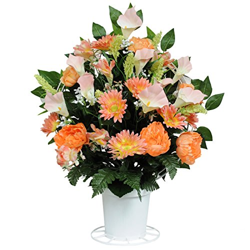 Orange Cala Lily Silk Flower Basket by Sympathy Silks® (BA1498) (Funeral Flowers With Basket Stand compare prices)