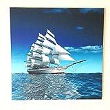癒しの風景画 パネル絵 立体印刷加工 3D フレームレス 風景画 インテリア絵画 リビング絵画 客間絵画 (20:帆船(中))