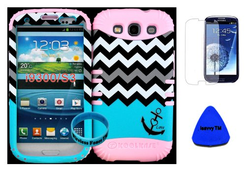 Hybrid Impact Rugged Cover Case Blue Block Chevron Waves With Anchor Hard Plastic Snap On For Samsung Galaxy Slll S3 Fits Sprint L710, Verizon I535, At&T I747, T-Mobile T999, Us Cellular R530, Metro Pcs And All On Baby Pink Silicon Skin (Included: Screen front-1001363