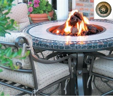 Sundance Southwest Tft2960Mfgbz Traditional Style Fire Table-29 In. Tall X 60 In. Diameter, Morocco Fire Design, Greens Granite Colors, Bronze Powder Coat