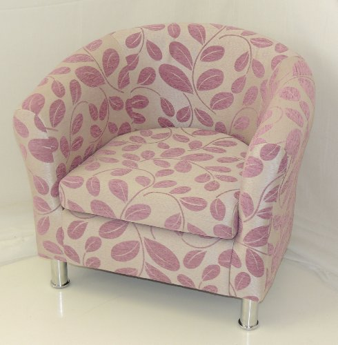 LIMITED EDITION FOXGLOVE PINK ORCHARD LEAF TUB CHAIR WITH CHROME LEGS