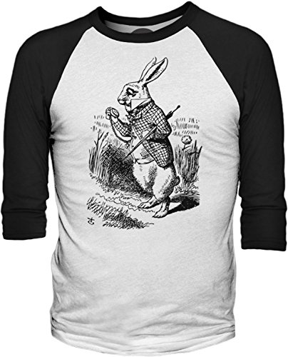 Big Texas Alice in Wonderland - the White Rabbit (Black) 3/4-Sleeve Baseball T-Shirt