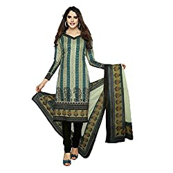 Stylish Girls Women Cotton Printed Unstitched Dress Material (SG205_Gray_Free size)
