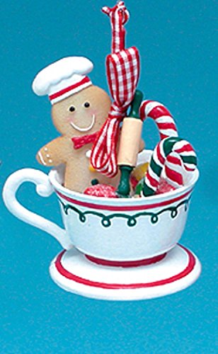 Gingerbread Kisses Cookie Boy with Candy Canes Coffee Cup Christmas Ornament